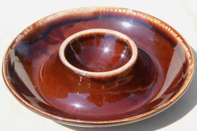 Kathy Kale vintage brown drip pottery chip & dip one piece server bowl