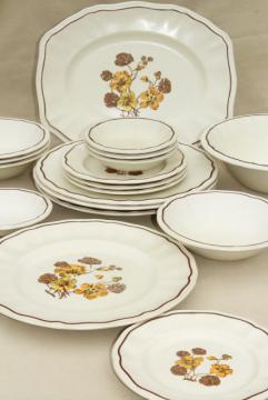 Kensington Staffordshire ironstone dinnerware, Sommerset w/ yellow pansies vintage china set