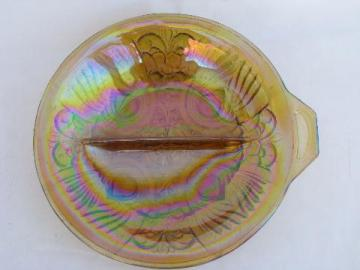 Kilarney marigold carnival luster glass divided pickle dish relish plate, vintage Indiana
