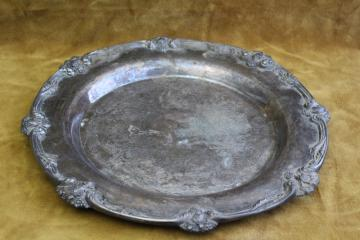 King George III ornate vintage silverplate salver or round tray International Silver
