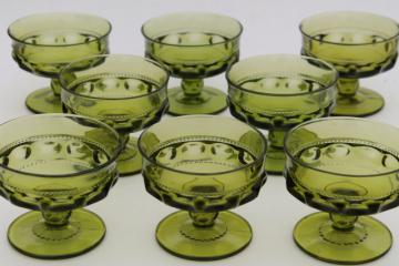 Kings Crown Colony avocado green glass champagne glasses or sherbet dishes