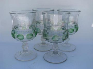 King's Crown green stain vintage pattern glass stemware lot, water glasses