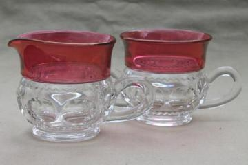 King's Crown pattern glass cream & sugar set w/ ruby band red flashed color