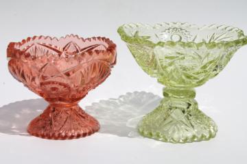 L G Wright pink & green glass candy dishes, sawtooth edge pinwheel whirling star