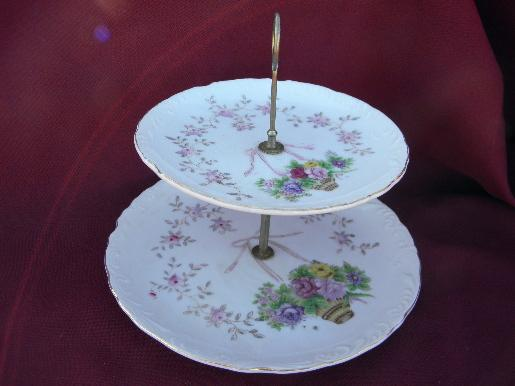 L&M mark Lipper & Mann Bristol Garden china, vintage two-tiered plate