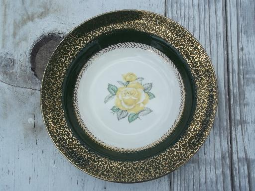 lady greenbriar vintage green yellow rose homer laughlin