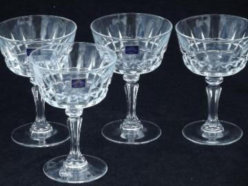 Lady Victoria french glass stemware, wine glass set, champagnes w/ labels