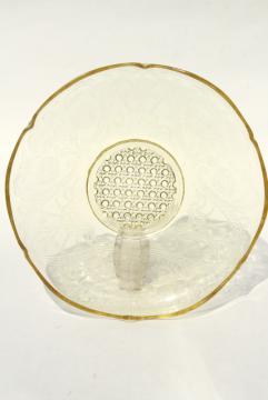 Lancaster Landrum pattern 1930s vintage amber yellow depression glass, large round bowl