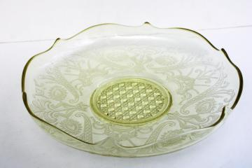 Lancaster Landrum pattern 1930s vintage yellow depression glass, large centerpiece bowl