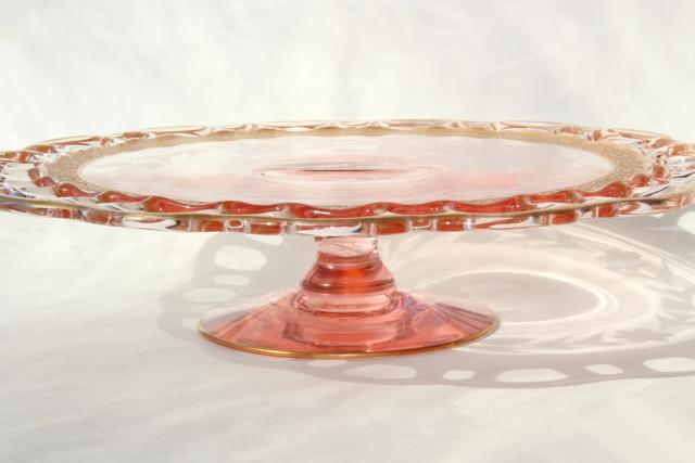 Lancaster glass open work lace edge cake stand, 30s vintage pink depression w/ gold