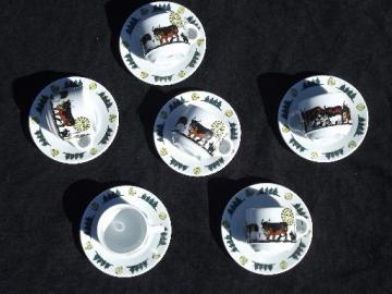 Langenthal Switzerland china cups and saucers, Alpine brown Swiss cows on mountain
