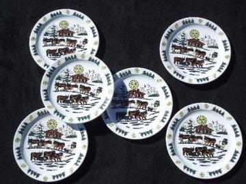 Langenthal Switzerland china plates, Alpine brown Swiss cows on mountain