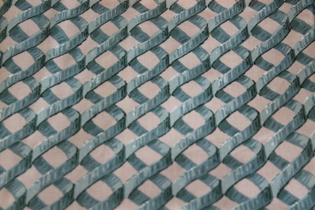 Laparelli 5th Avenue green lattice print 1980s vintage decorator fabric teflon coated cotton