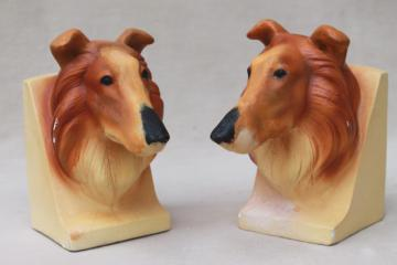 Lassie collie dog bookends, vintage chalkware plaster book ends w/ Marbello Art Craft label