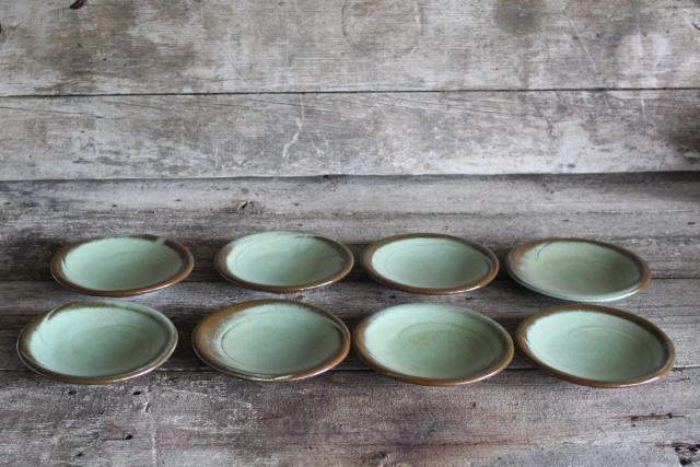 Lazy Bones Frankoma pottery prairie green / brown small plates or saucers