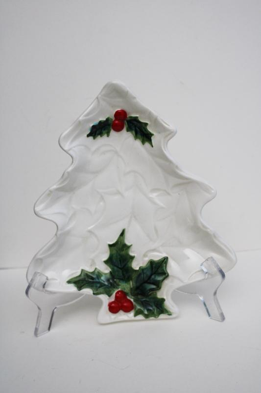 Lefton Japan ceramic holly berry white Christmas tree shape dish, 1970s vintage