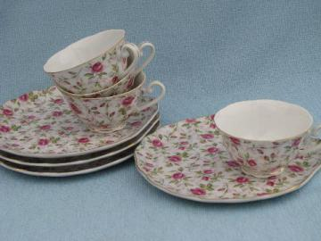 Lefton - Japan vintage hand painted china pink floral chintz snack sets