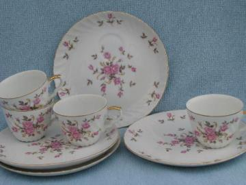 Lefton - Japan vintage hand painted china pink roses snack sets