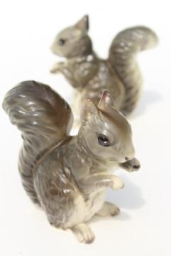 Lefton china pair of squirrels, grey squirrel figurines Lefton's Japan label
