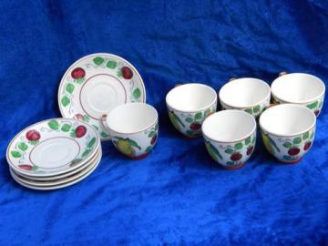 Lefton china vintage hand-painted fruit cups & saucers, rustic Italian style