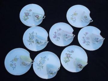 Lefton china vintage roses pastels snack sets for 8, Lefton's Japan