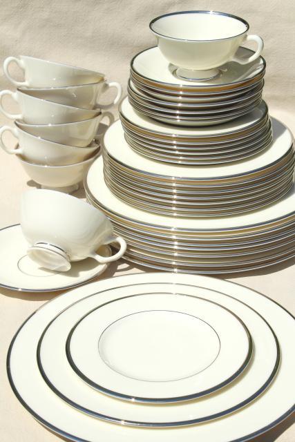 Lenox Montclair Silver Platinum Trim Ivory China Vintage Dinnerware