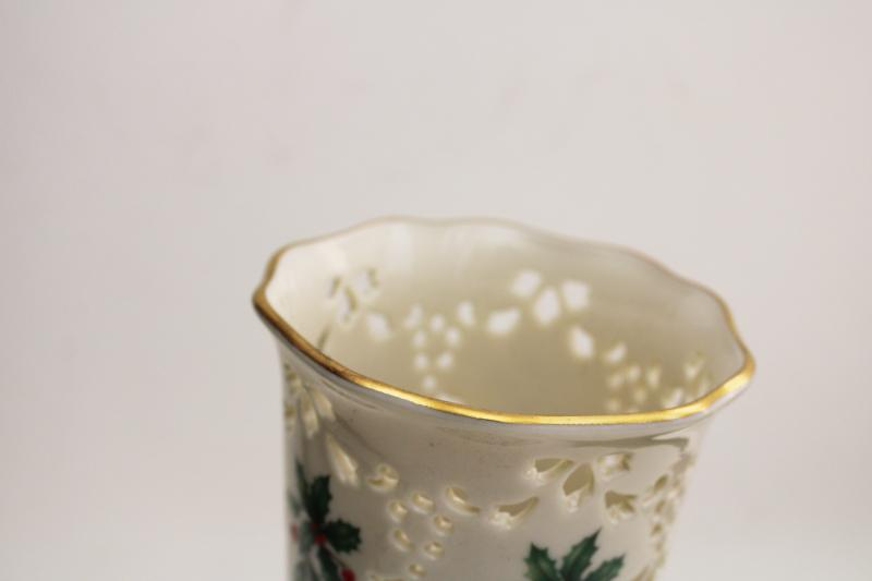 Lenox china holly pattern gold trim pierced border vase, Christmas holiday