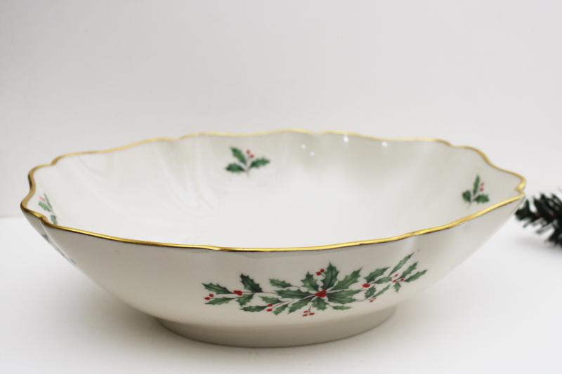 Lenox holiday pattern china large oval centerpiece bowl w/ Christmas holly