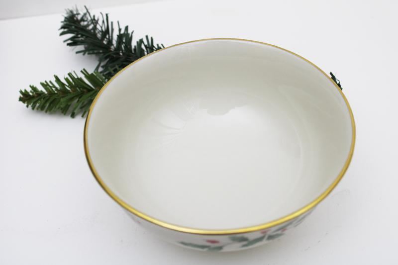 Lenox holiday pattern china, small footed bowl w/ green & red holly, gold trim