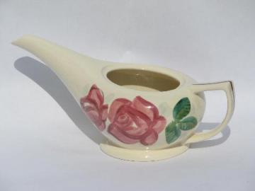 Lexington pink rose pattern vintage Red Wing pottery teapot, no lid