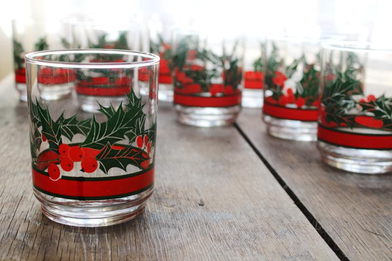 Libbey Holly & Berries Christmas glasses, double old fashioned vintage box of 12