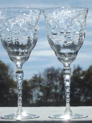 Libbey Rock Sharpe Water Glasses Vintage Stemware