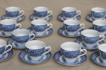 Liberty Blue Staffordshire vintage china Paul Revere teacups, 14 cup & saucer sets