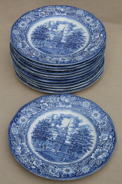 Liberty Blue Staffordshire vintage china dinner plates set of 12 Independence Hall & Liberty Blue Staffordshire vintage china dinner plates set of 12 ...