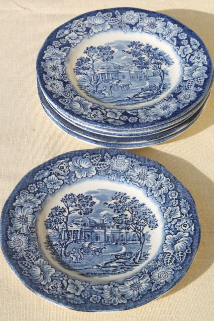 Liberty Blue Staffordshire vintage china plates Monticello scene set of 6 : liberty blue dinnerware - pezcame.com