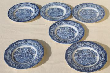 Liberty Blue Staffordshire vintage china plates, Monticello scene set of 6
