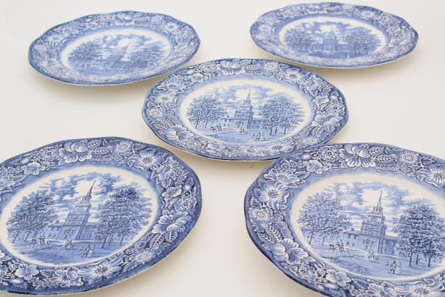 Liberty blue u0026 white transferware china vintage dinner plates Independence Hall  sc 1 st  Laurel Leaf Farm & Liberty blue u0026 white transferware china vintage dinner plates ...