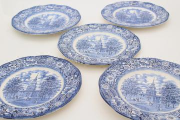 Liberty blue & white transferware china, vintage dinner plates Independence Hall