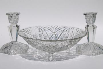 Libochovice Czech art glass console bowl & pair candlesticks, vintage 1930s