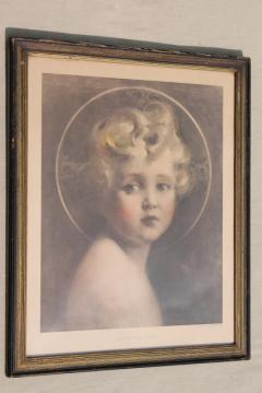 Light of the World vintage religious print circa 1920s in period wood picture frame