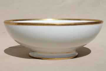 Limoges France encrusted gold wedding band china, large serving bowl w/ footed shape