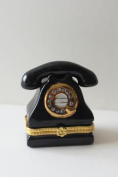 Limoges style china trinket box shaped like a vintage rotary dial telephone