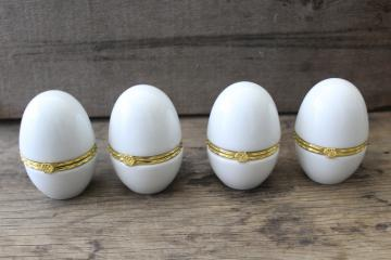 Limoges style porcelain boxes, large eggs plain white china to paint or decorate