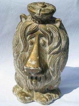 Lion - King of the Beasts retro coin bank, vintage Mexico chalkware