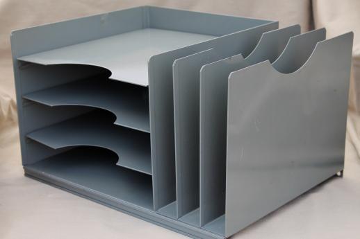 Lit Ning Vintage Industrial Steel Desk Top In U0026 Out Paper Tray W/ Office  File Organizer