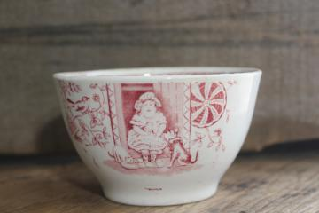 Little Mae girl w/ dog 1800s antique transferware china baby bowl, child size dish