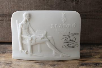 Lladro Collectors Society vintage china sign for display, white porcelain plaque