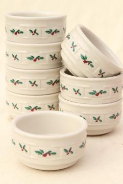 Longaberger Holly Christmas Traditions stoneware pottery custard cups