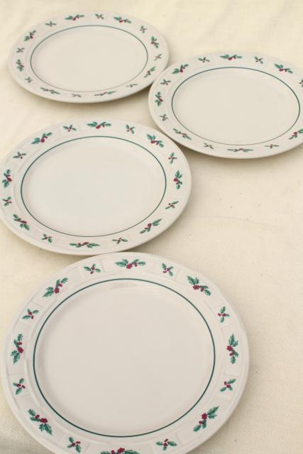 Longaberger Holly Christmas Traditions stoneware pottery dinner plates set of four & Longaberger Holly Christmas Traditions stoneware pottery dinner ...