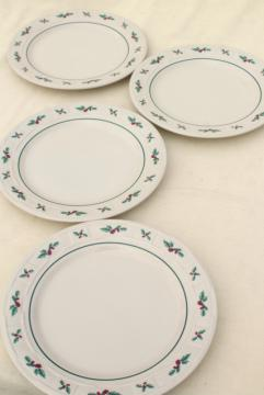 Longaberger Holly Christmas Traditions stoneware pottery dinner plates set of four